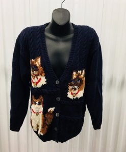 The Eagles Eye Cat Theme English Hand Knit Cardigan Sweater Medium Ugly Sweater