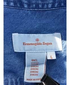 ERMENEGILDO ZEGNA COTTON LYOCELL SHIRT BLUE DENIM LARGE MADE IN ITALY tag
