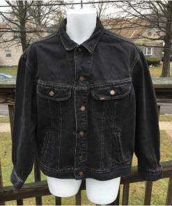 Lee Black WashedDenim Truckers Jean Jacket Made in USA EUC 153438