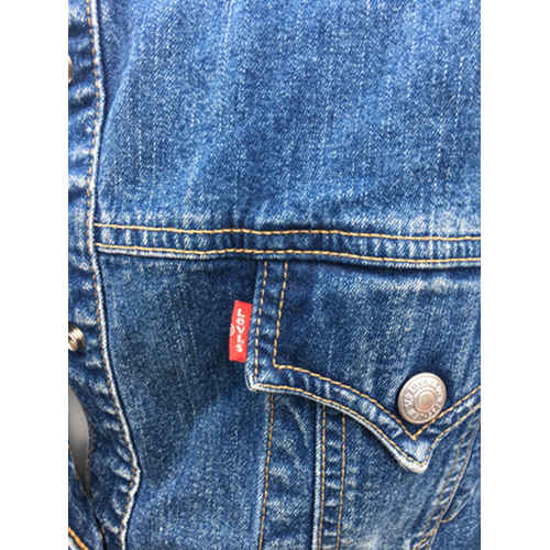 Levis Strauss Womens Collarless Blue Denim Jean Jacket Blazer collar Large red tag
