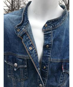 Levis Strauss Womens Collarless Blue Denim Jean Jacket Blazer red tag length button Large