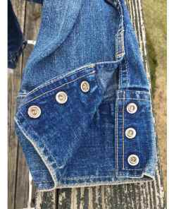 Levis Strauss Womens Collarless Blue Denim Jean Jacket Blazer wrist button Large