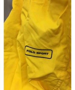 Polo Sport Track Pants Mens S Joggers Yellow 90s Ralph Lauren Zip Bottom logo