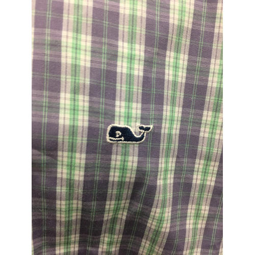 Vineyard Vines Button Down Collegiate Shirt Size Large multi color irish green, skyblue closeup