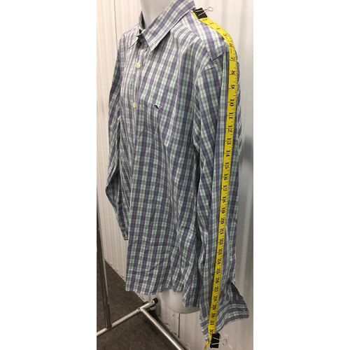 Vineyard Vines Button Down Collegiate Shirt Size Large multi color irish green, skyblue sleeve