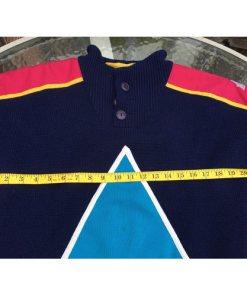Vintage 90s SOS Black Retro Ski Sweater Size Medium Sportswear of Sweden Wool inner