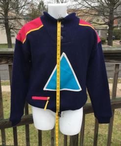 Vintage 90s SOS Black Retro Ski Sweater Size Medium Sportswear of Sweden Wool length