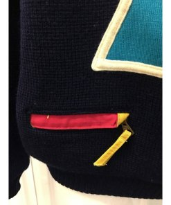 Vintage 90s SOS Black Retro Ski Sweater Size Medium Sportswear of Sweden Wool zipper