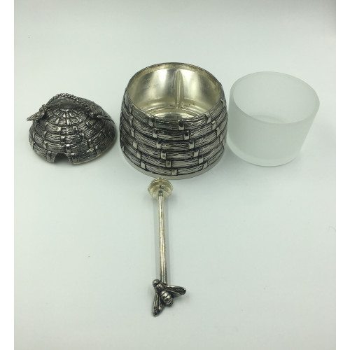 vintage godinger silver plated bee hive honey pot server