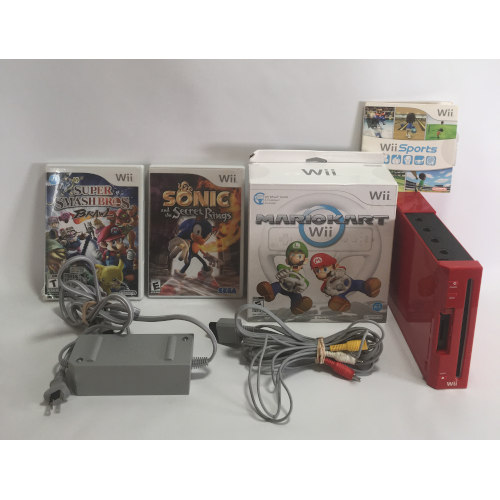 Nintendo Wii Console Bundle RVL-001 Red