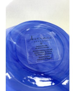 Artistic Accents Cobalt Blue Swirl / Cloud Pattern Bean Shape Glass Bowl