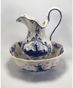 Delft Blue DAIC Pitcher & Bowl/Basin Set Blue and White Windmill