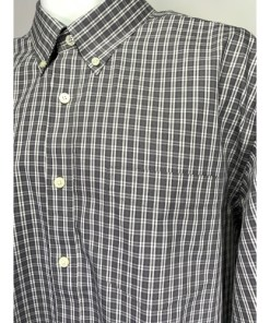 Eddie Bauer Wrinkle Free Relaxed Fit Blue Gray Check Dress Shirt TXL Tall