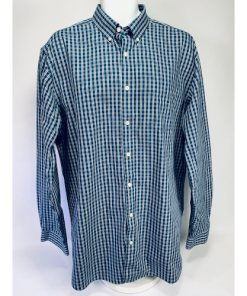 Eddie Bauer Wrinkle Free Relaxed Fit Blue & Gray Check Dress Shirt TXL Tall