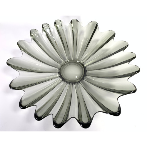 Federal Glass Celestial Pattern Smoke Grey Serving Scalloped Bowl Plate