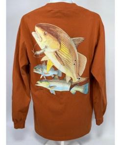 Gently Worn Guy Harvey Original Flying Fish 2004 Long Sleeve Rustic Orange T-Shirt
