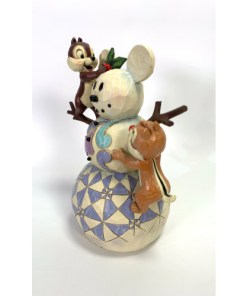 Jim Shore Walt Disney Showcase Chip & Dale Woodland Winter Wonderland Snowman