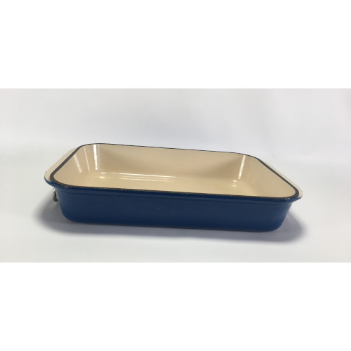 Vintage  / France Le Creuset Cast Iron Enameled Rectangular Roaster Casserole (Blue)