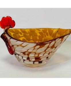 Murano Art Glass Hen Chicken Bowl - Gravy Boat