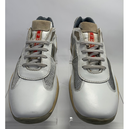 Prada Americas Cup While Silver Low Top Sneakers 1907