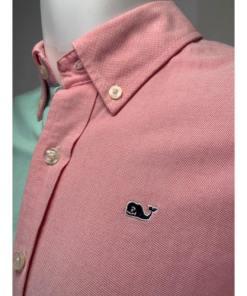 Vineyard Vines Gingham Whale Color Block Oxford Shirt