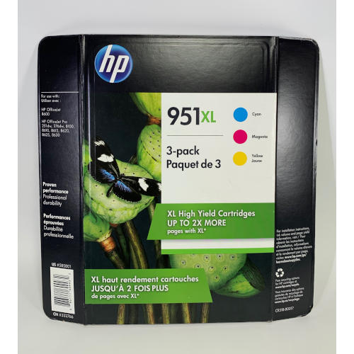 HP 951XL High Yield Original Ink Cartridge -3pk 886111609932
