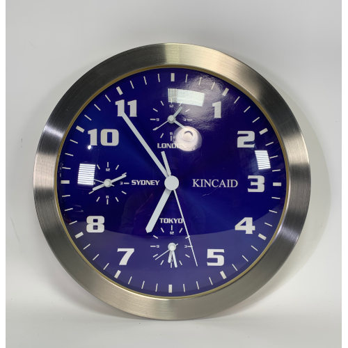 "KINCAID 12"" FOUR TIME ZONED WALL CLOCK"