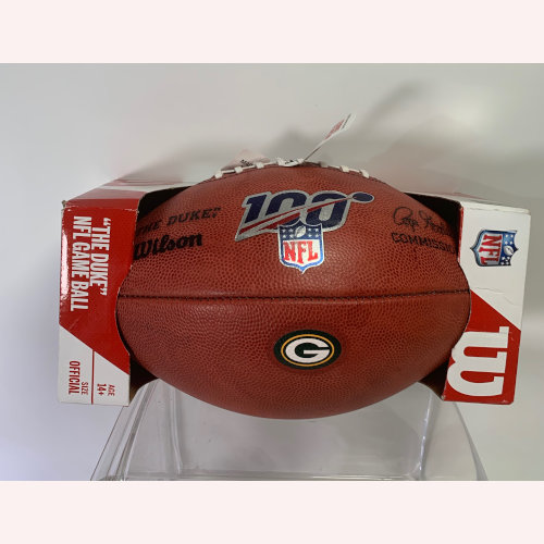 "Wilson NFL 100 Year ""The Duke"" Green Bay Packers Official NFL Leather Football 1300027 400013000279"