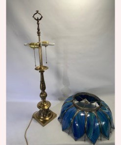 Underwriters Laboratories Cobalt Blue Stained Glass Table Lamp