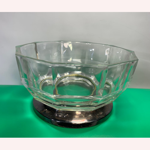 Thick Glass Bowl w Silver Plated Foot Base Made in Italy