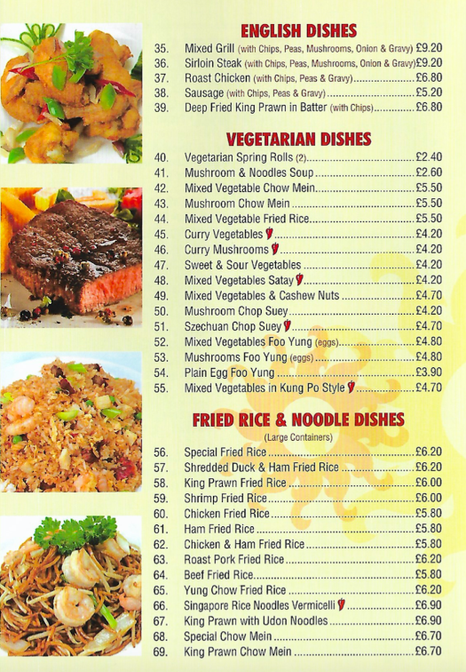 English dishes, vegetarian and fried rice and noodle dishes