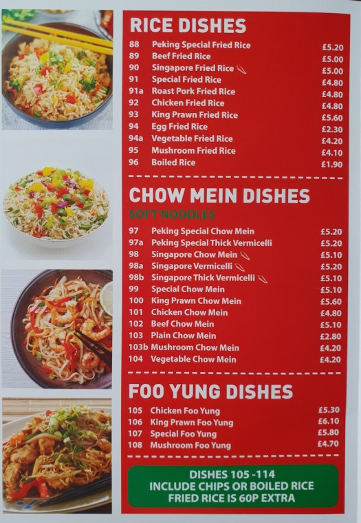 Rice Dishes, Chow Mein and Foo YUNG Dishes