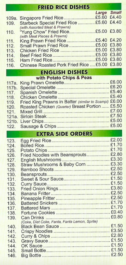 Fried rice, english dishes, extra side orders