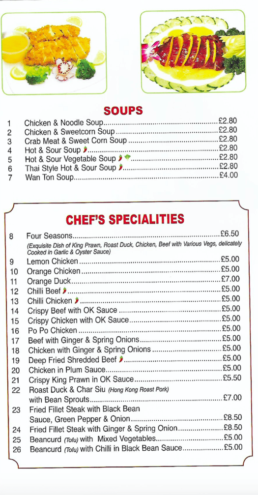 Soups and Chef's Specialities