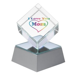 """""""I Love You Mom"""" Lighted Crystal Cube With Gift Box"""