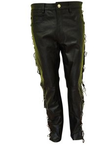 Black Leather Side Laces Pant