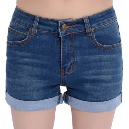 Mid-Rise Turn-Up Cratched Denim Shorts