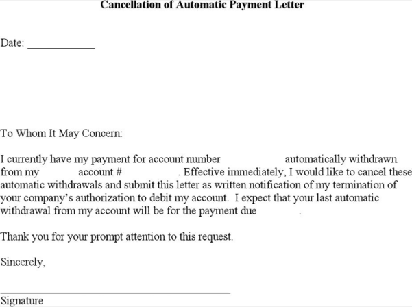 6 automatic payment cancellation letters find word letters automatic payment cancellation letter 02 altavistaventures Images