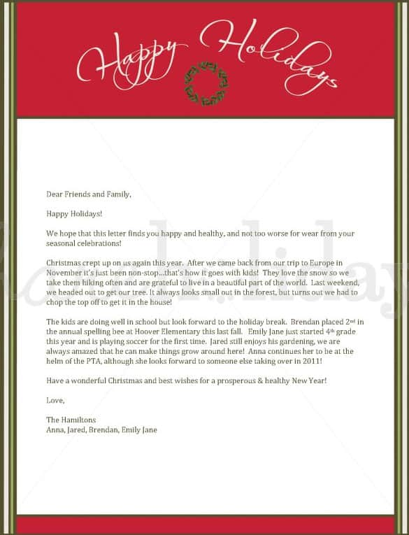 Christmas-Letter-sample-01 Sample Christmas Letter Templates on for kids, business proposal, employment termination, campaign fundraising, donation request, university petition, character reference, employee termination, professional cover, company introduction, resume cover,