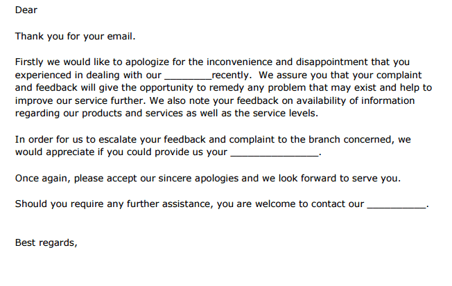 5 Complaint Response Letters Find Word Letters