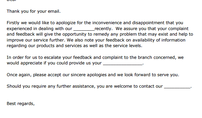 5 Complaint Response Letters Find Word