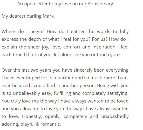 Free First Anniversary Love Letter Templates At Allbusinesstemplates