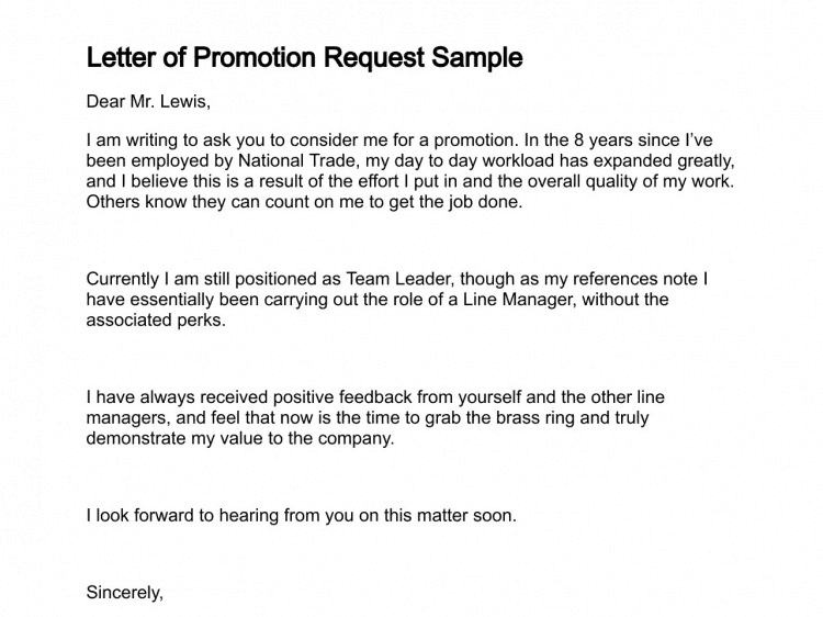5 job promotion request letters find word letters