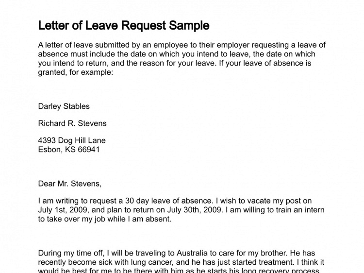 Leave Application Letter 03  Leave Request Sample