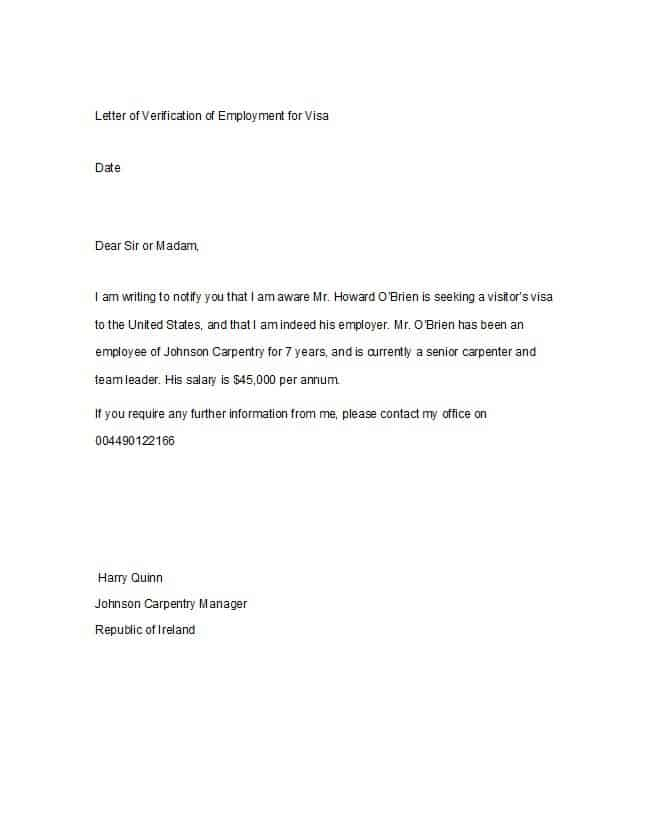 6 Proof of Employment Letters – Find Word Letters