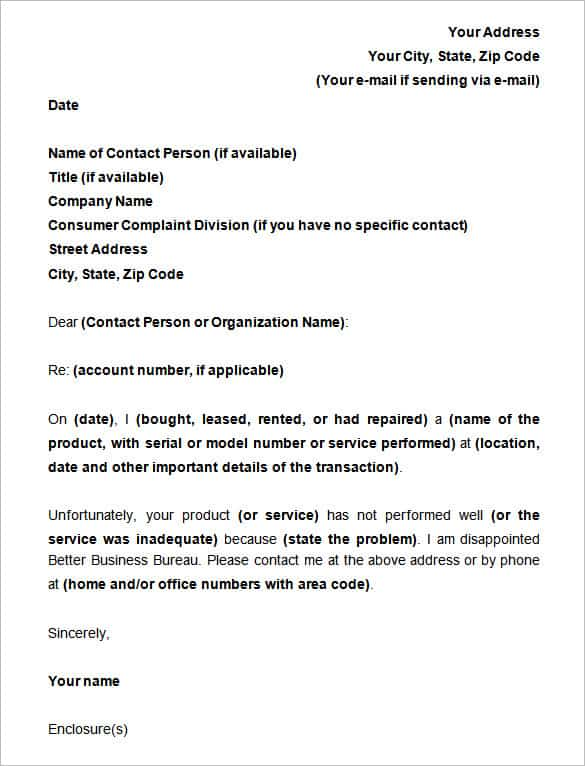 sample of complaint letters