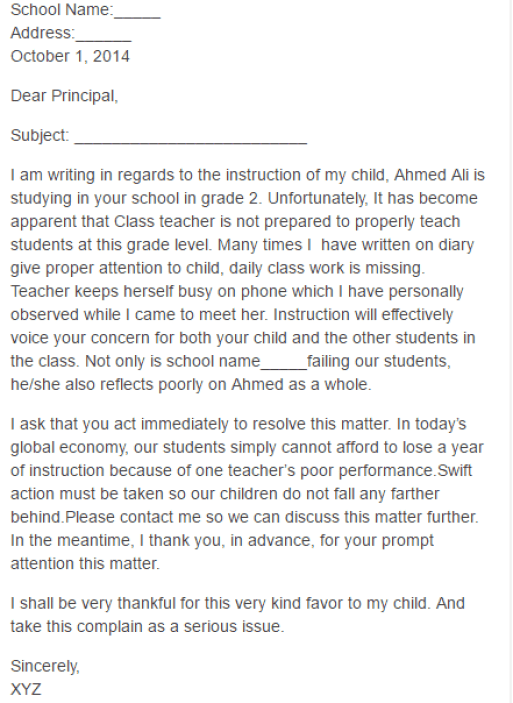 3  teacher complaint letters  u2013 find word letters