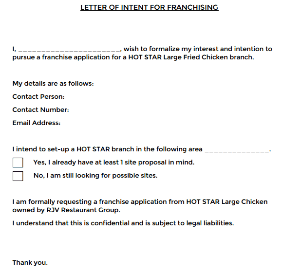 letter of intent for franchise 01