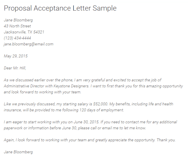 sample insurance acceptance letter  5  Proposal acceptance letters – Find Word Letters