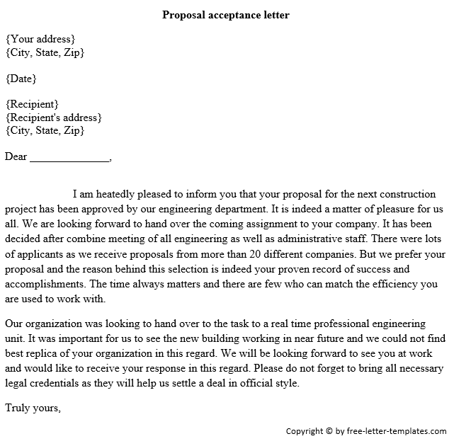 5 Proposal Acceptance Letters Find Word Letters